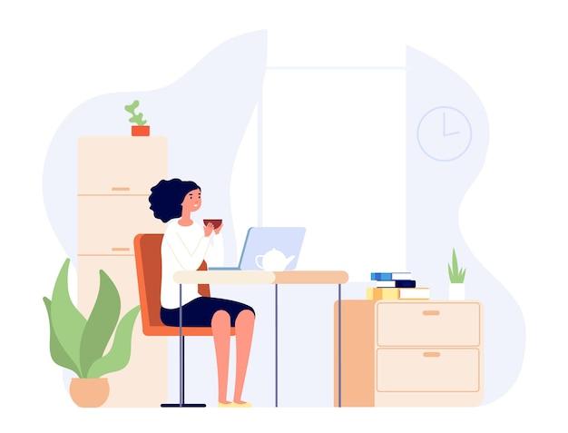 Ragazza seduta a casa. donna alla scrivania che guarda video sul computer portatile e beve il tè. studenti che imparano online o lezioni a distanza, lavoro freelance. la femmina ha il relax domestico dopo l'illustrazione vettoriale del lavoro