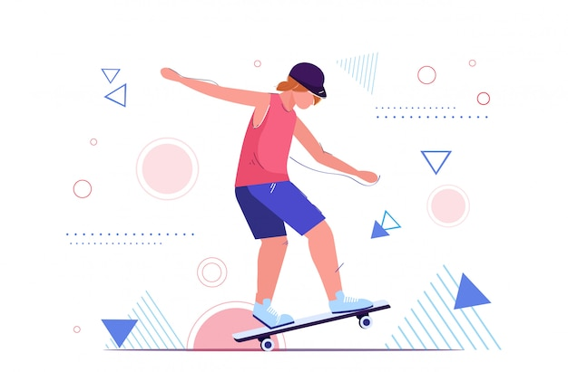 Ragazza pattinatore che salta su skateboard eseguendo acrobazie skateboard concetto adolescente di sesso femminile