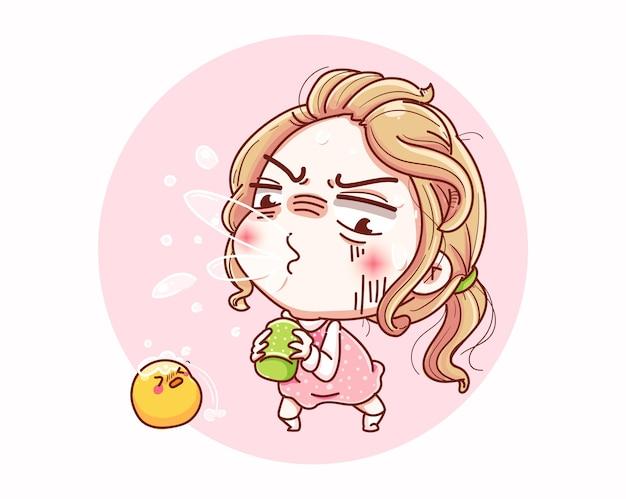 Una ragazza starnutisce o tossisce e il design dei personaggi dei cartoni animati.