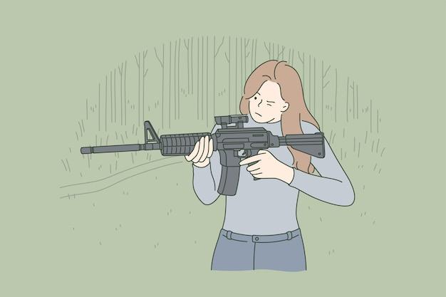 Personaggio dei cartoni animati di ragazza soldato che mira