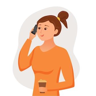 Ragazza che parla usando il suo smartphone che tiene in mano