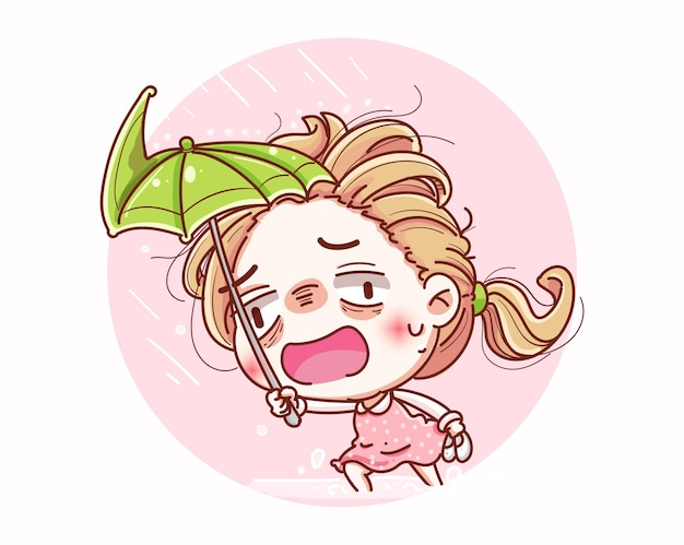 Una ragazza che spande un ombrello durante la tempesta e il disegno del personaggio dei cartoni animati.