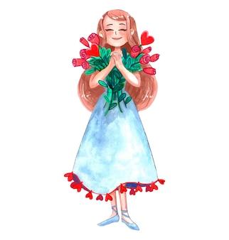 La ragazza sta tenendo i fiori felici nelle sue mani isolate su bianco