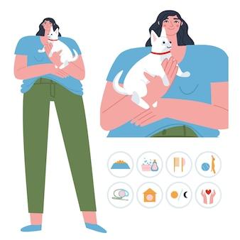 Una ragazza sta con un cagnolino in braccio piatto vettore