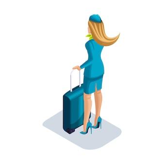 Hostess ragazza con cose e valigia si trova in aeroporto, in attesa del suo volo. vista posteriore, scarpe uniformi