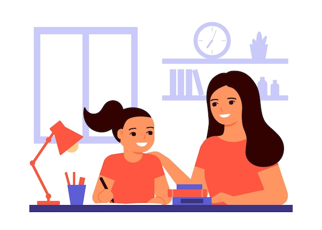 Una studentessa è seduta a casa e sta imparando la lezione con l'aiuto dell'insegnante, mamma. il bambino sta facendo i compiti. la mamma aiuta a risolvere i compiti. scuola domestica, formazione online, concetto di conoscenza. piatto