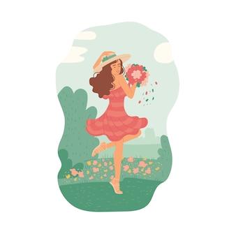 Ragazza in abito estivo con bouquet ballando nel prato di fiori contro il cielo soleggiato