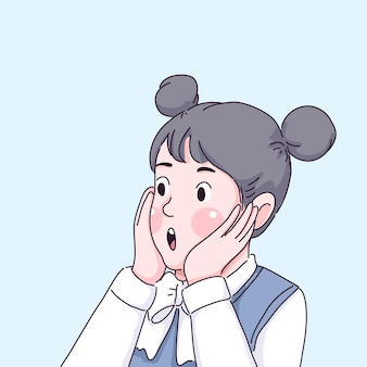 Ragazza sorpresa cartone animato
