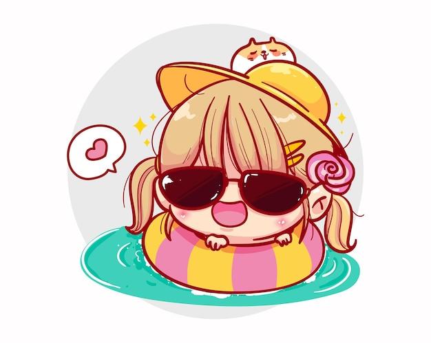 Una ragazza che nuota in piscina e design dei personaggi estivi