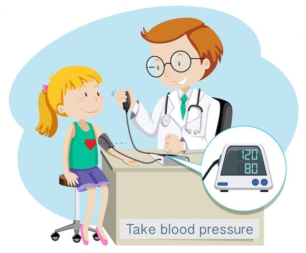 Una ragazza prende la pressione sanguigna con il dottore