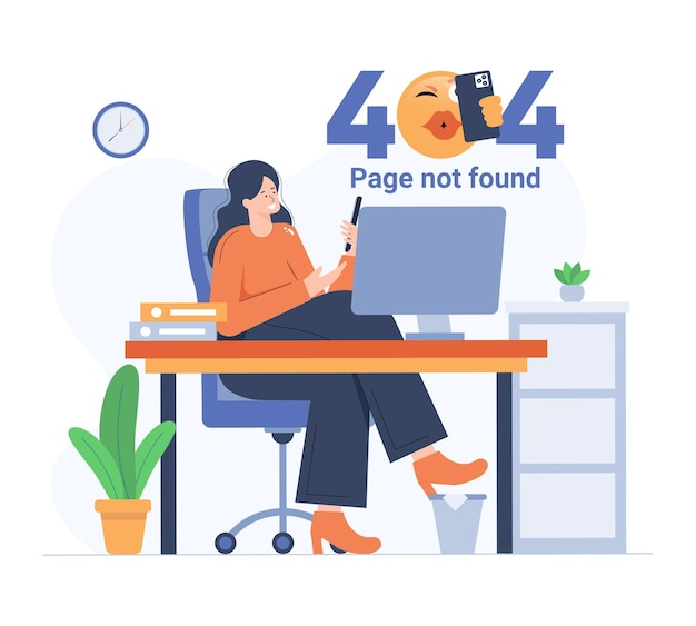 Ragazza che si fa selfie durante l'errore 404