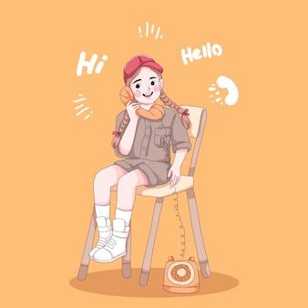 La ragazza parla con qualcuno dal vecchio cartone animato del telefono telephone