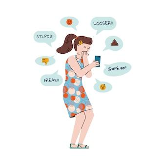 Ragazza o adolescente ricevendo messaggi di bullismo fumetto illustrazione vettoriale isolato.