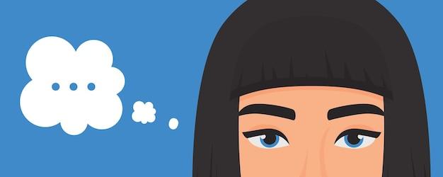 Ragazza che pensa al problema con i punti nel ritratto di espressione della bolla di pensiero con gli occhi