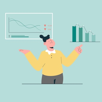 Ragazza che pensa alla crisi aziendale perché giù il concetto di statistiche