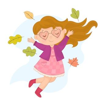 La ragazza vomita i fogli di autunno isolati su bianco