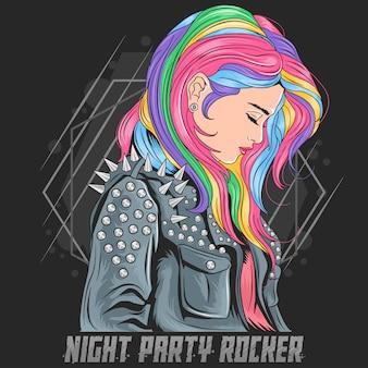 Capelli di colore pieno di unicorno della ragazza con lo stile del punker della giacca del rocker
