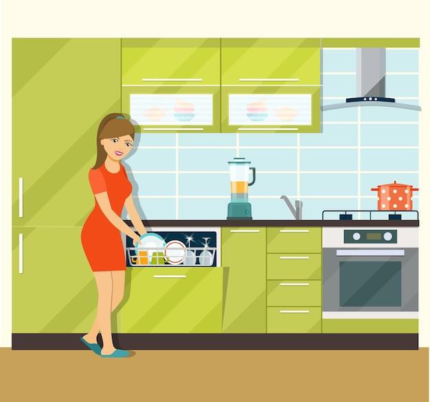 Ragazza che utilizza una lavastoviglie in una cucina moderna. illustrazione piatta vettoriale