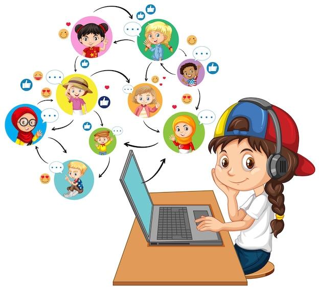 Una ragazza che utilizza computer portatile per comunicare la videoconferenza con gli amici su bianco