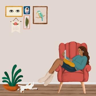 Ragazza che usa un computer portatile su un divano rosso in stile schizzo vettore