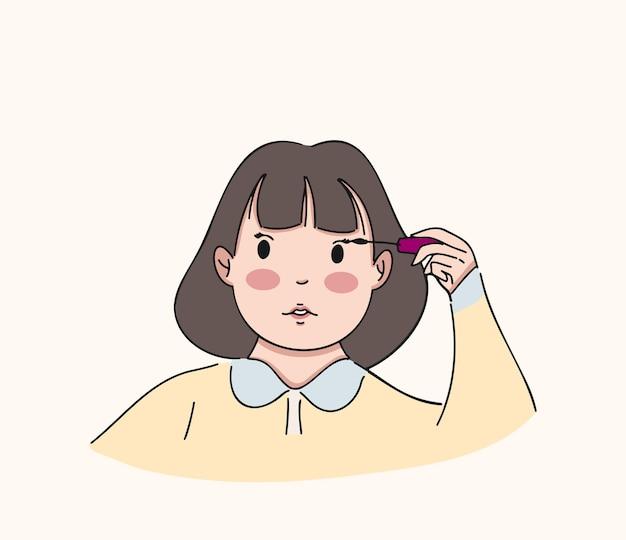 Ragazza che utilizza mascara, illustrazione disegnata a mano di stile carino