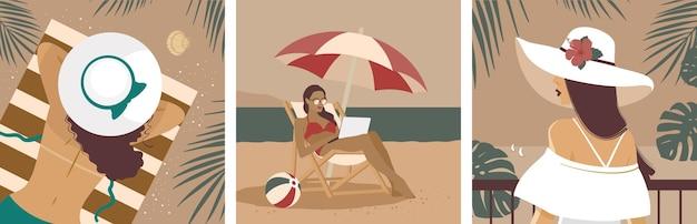 Una ragazza in vacanza sulla spiaggia. una serie di illustrazioni.