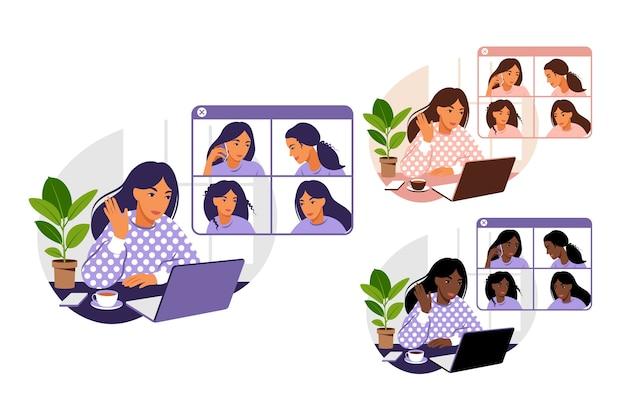 Videoconferenza ragazza con illustrazione di amici