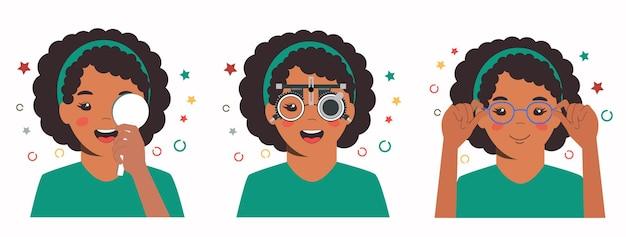 Controllo della vista della ragazza nella clinica oftalmologica optometrista che controlla la vista del bambino con gli occhiali