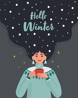 Ragazza in maglione caldo con tazza calda e con la neve tra i capelli modello di disegno vettoriale