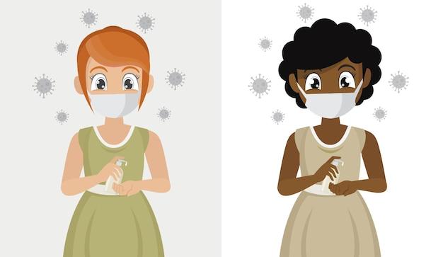 La ragazza indossa maschere usa gel antisettico alcolico per pulire le mani e prevenire germi e covid