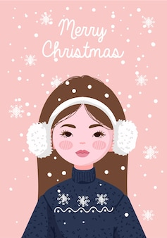 Ragazza che indossa paraorecchie con maglione e cappello invernale