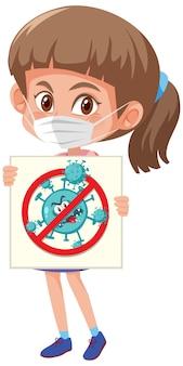 Ragazza che indossa la maschera e tiene fermo il segno di coronavirus