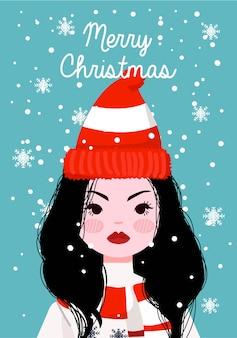Ragazza che indossa sciarpa con maglione e cappello invernale