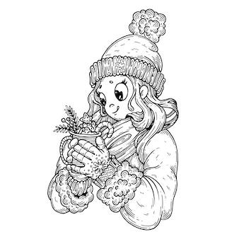 Ragazza in abiti invernali, con i dolci.