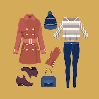 Collezione di abiti alla moda invernale ragazza