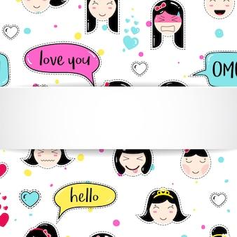 Ragazza con anime emoji. simpatici adesivi con emoticon
