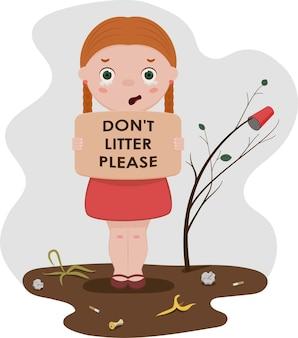Ragazza con un appello a non sporcare. illustrazione vettoriale di stile piatto