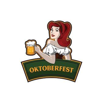 Ragazza con modello di birra oktoberfest