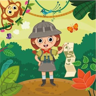 Una ragazza con un binocolo in piedi in una giungla con in mano una mappa illustrazione vettoriale