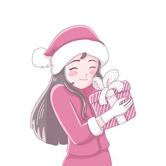 Ragazza con regalo di natale