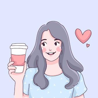 Ragazza con illustrazione della tazza di caffè