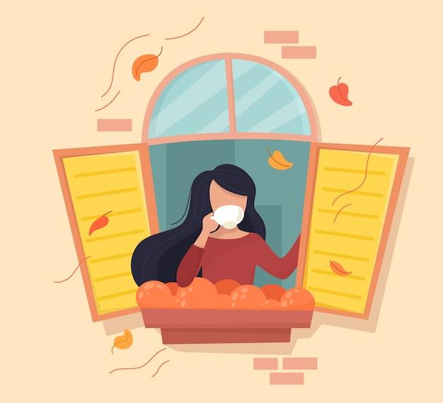 Ragazza con una tazza di caffè nella finestra d'autunno. in stile piatto del fumetto.