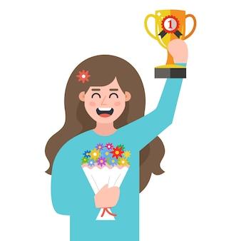 Ragazza con una tazza e fiori tra le mani. vincitore del concorso. personaggio piatto illustrazione.