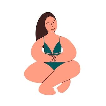 Una ragazza dalle forme sinuose nella posizione del loto. modello plus size in intimo. corpo positivo