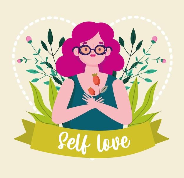 Ragazza con l'illustrazione di amore di sé del personaggio dei cartoni animati del nastro dei fiori