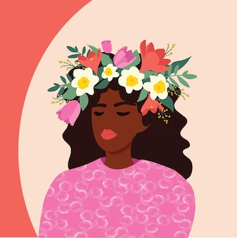 Ragazza con fiori, illustrazione vettoriale. modello simpatico cartone animato piatto per carte e poster. giornata internazionale della donna.