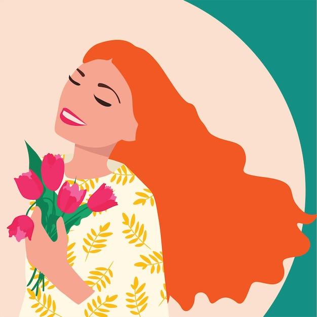 Ragazza con fiori, illustrazione vettoriale. modello simpatico cartone animato piatto per carte e poster. giornata internazionale della donna. Vettore Premium