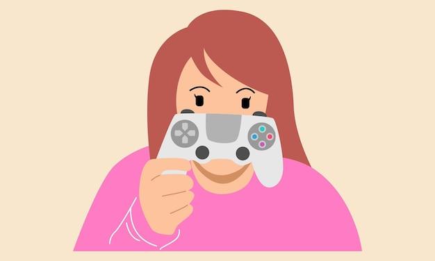 Ragazza con la console del controller di gioco