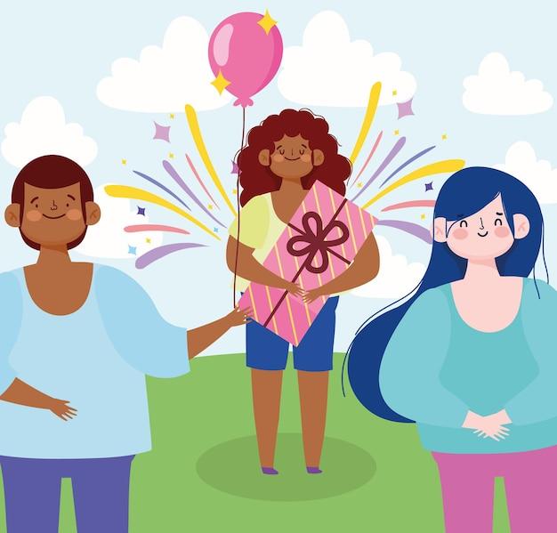 Ragazza con regalo e amici palloncini festa celebrazione fumetto illustrazione