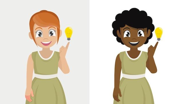Ragazza con una buona idea capito i pollici intelligenti dei bambini che indicano la lampadina di idea emozioni positive